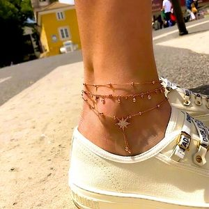 ⚜️[𝟯/$𝟮𝟴]⚜️3 Layered Crystal Drop Anklet NEW